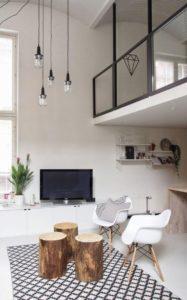 mezzanine décoration lampe industrielle