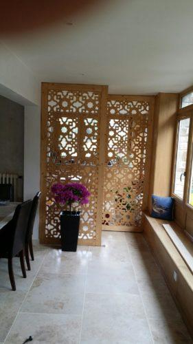 claustra traditionnel bois salon