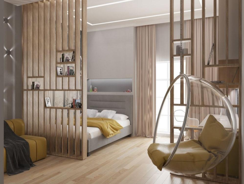 Rangements intégrés pour claustra lames bois d'intérieur