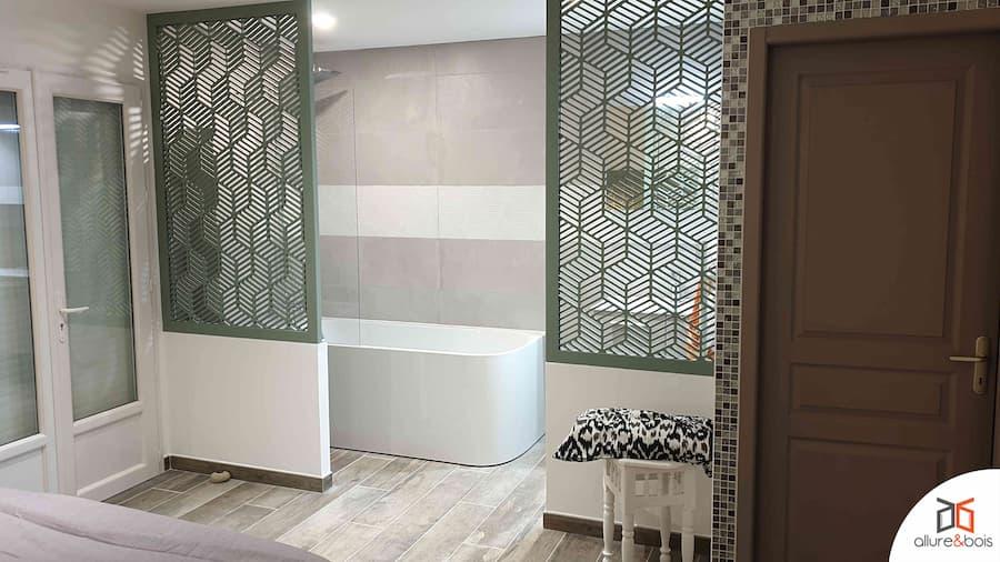 double paroi claustra pour salle de bain ouverte
